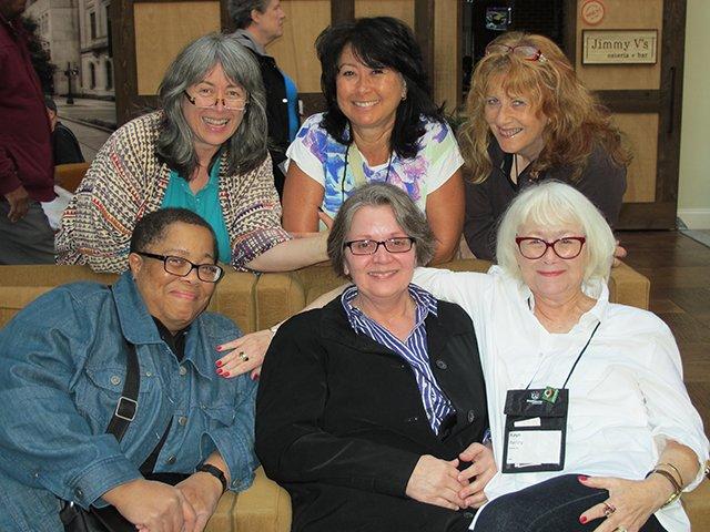 M\'Lou Greene, Em Bronstein, Fran Read, Dru Ann Love, Judy Bobalik And Me - Raleigh Bouchercon 2015